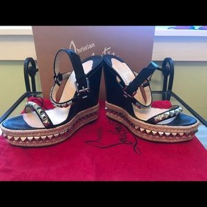 Christian Louboutin Studded Wedges 39 Black
